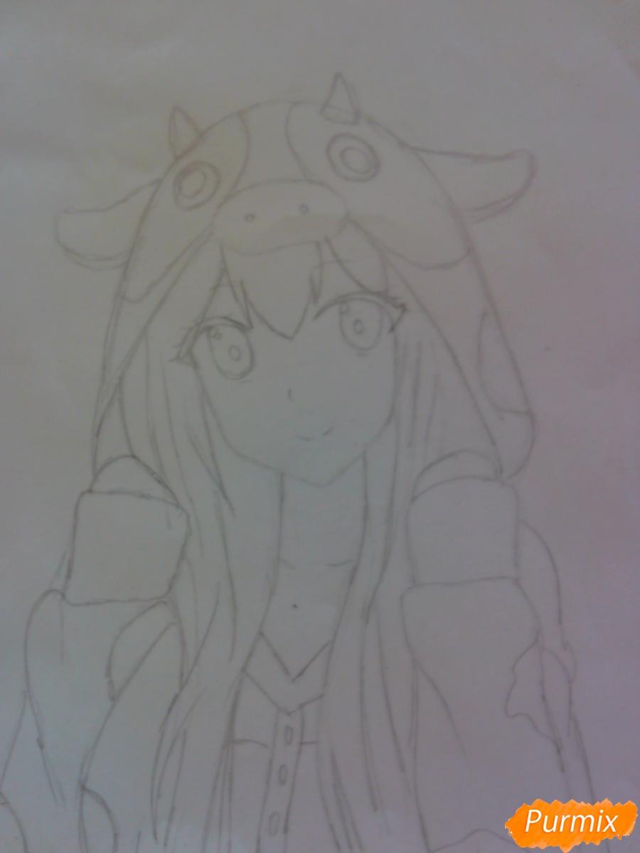 Рисуем аниме девушку в костюме коровки - шаг 3