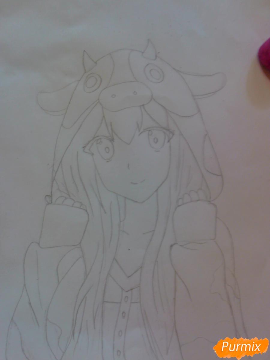 Рисуем аниме девушку в костюме коровки - шаг 4
