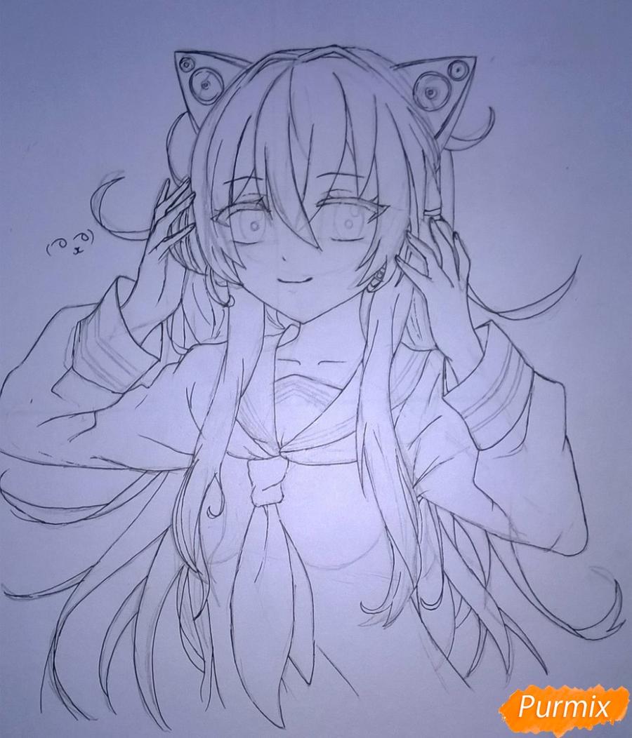 Рисуем аниме девушку в наушниках цветными карандашами - шаг 10