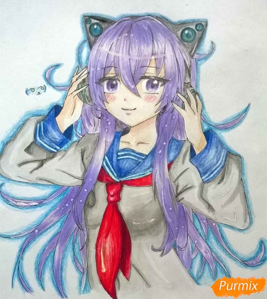 Рисуем аниме девушку в наушниках цветными карандашами - шаг 12