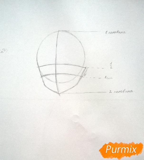 Рисуем аниме девушку в наушниках цветными карандашами - шаг 2