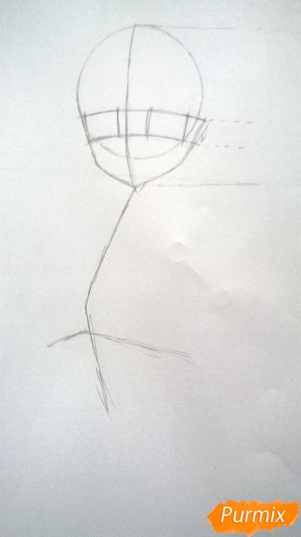 Рисуем аниме девушку в наушниках цветными карандашами - шаг 3