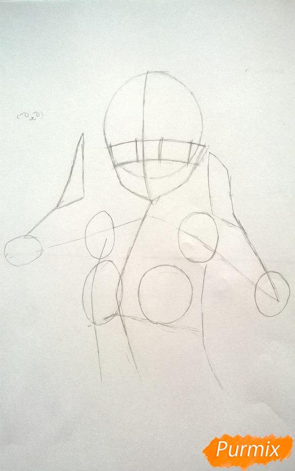 Рисуем аниме девушку в наушниках цветными карандашами - шаг 4