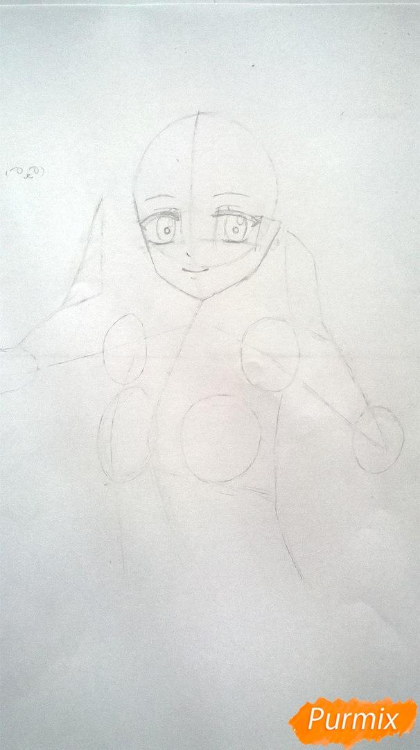 Рисуем аниме девушку в наушниках цветными карандашами - шаг 5
