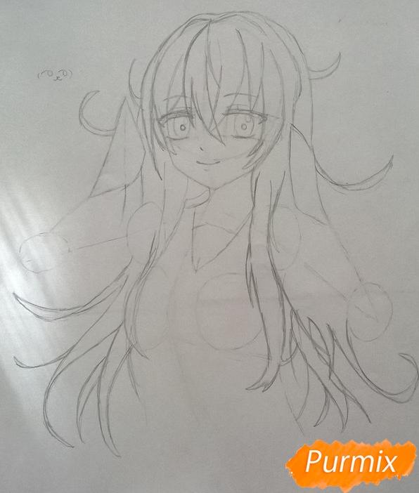 Рисуем аниме девушку в наушниках цветными карандашами - шаг 6
