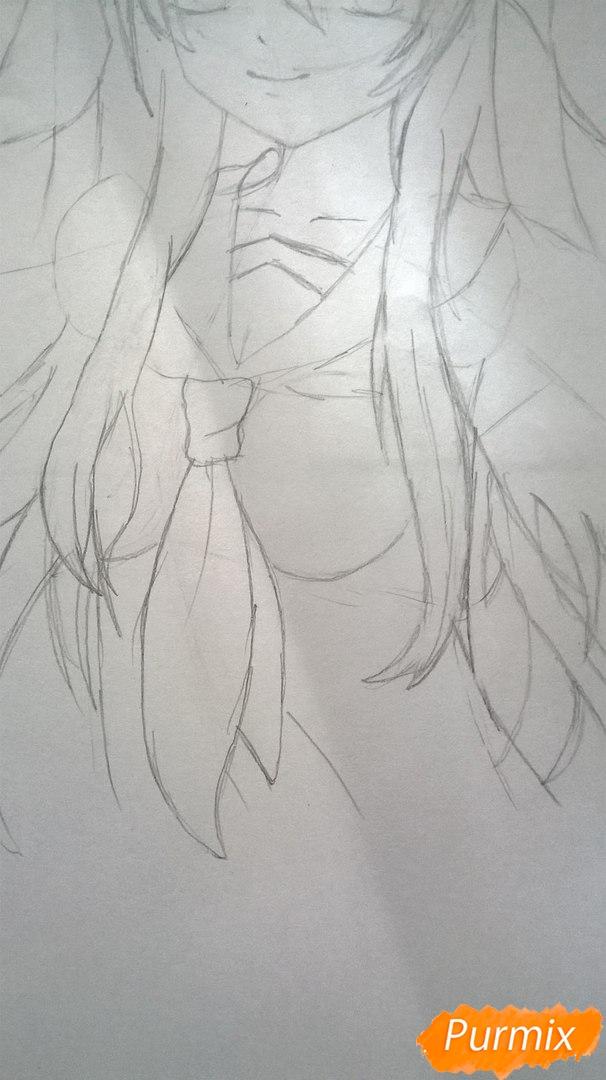 Рисуем аниме девушку в наушниках цветными карандашами - шаг 7