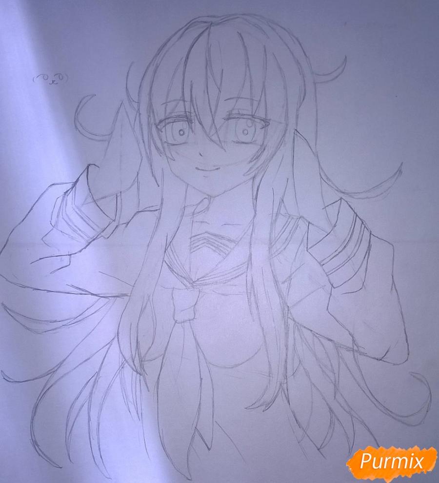 Рисуем аниме девушку в наушниках цветными карандашами - шаг 8