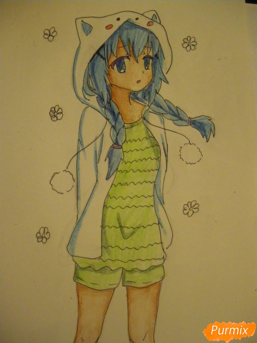 Рисуем аниме девушку в пижаме  для начинающих - шаг 11