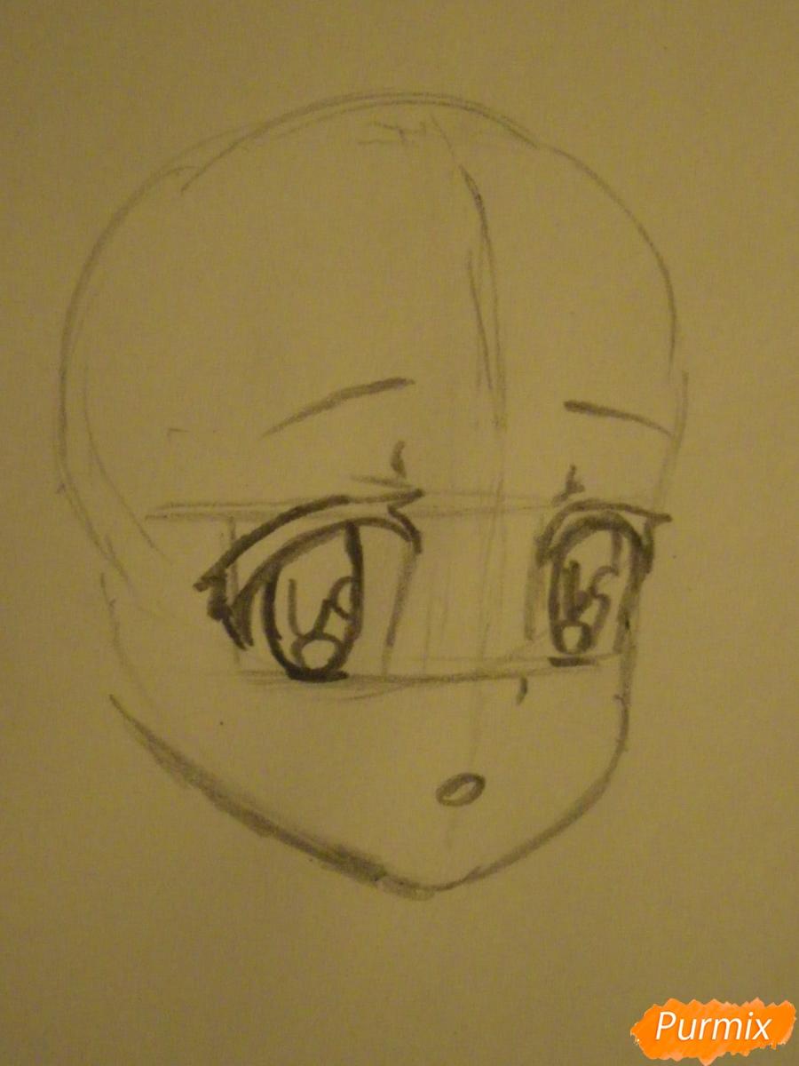 Рисуем аниме девушку в пижаме  для начинающих - шаг 2