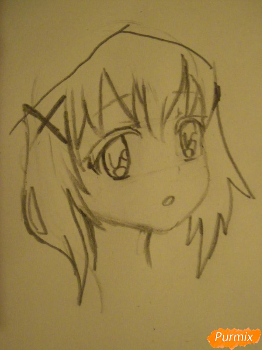Рисуем аниме девушку в пижаме  для начинающих - шаг 3