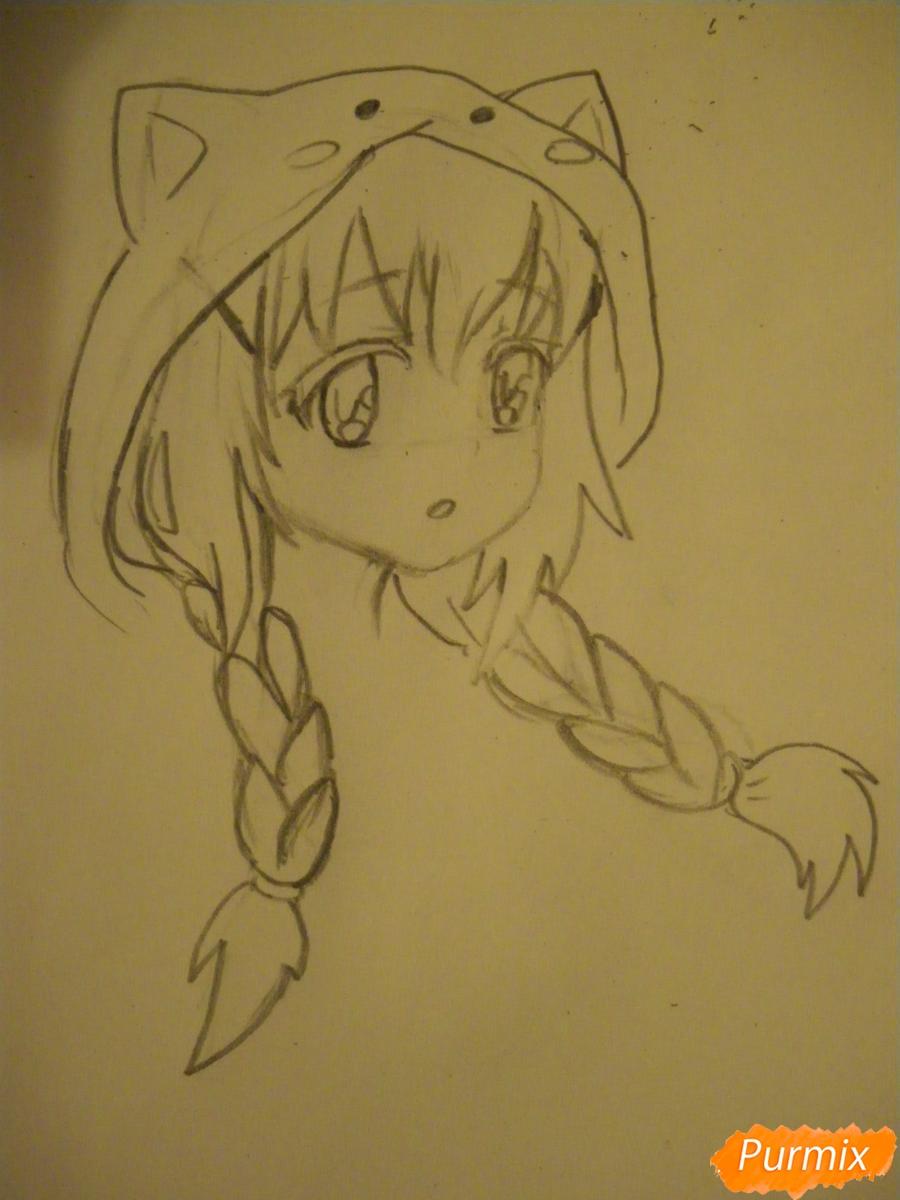 Рисуем аниме девушку в пижаме  для начинающих - шаг 4