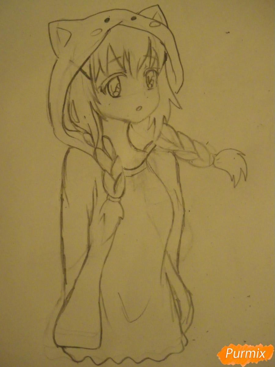 Рисуем аниме девушку в пижаме  для начинающих - шаг 5