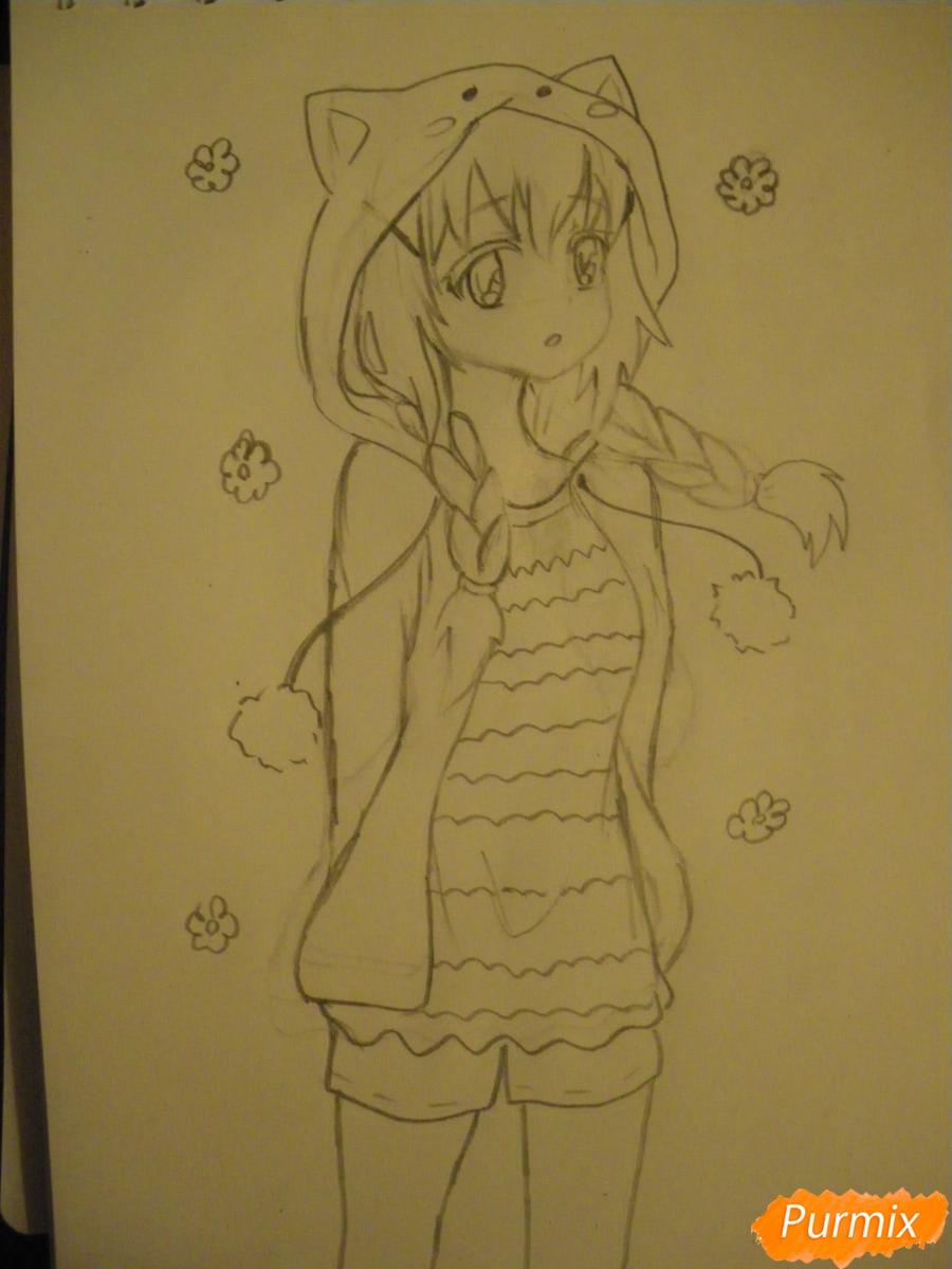 Рисуем аниме девушку в пижаме  для начинающих - шаг 7