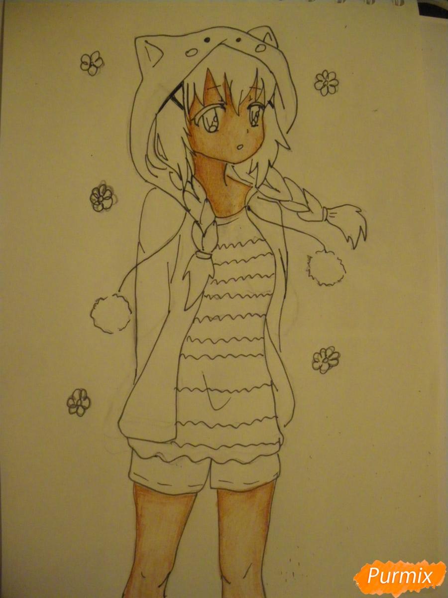 Рисуем аниме девушку в пижаме  для начинающих - шаг 9