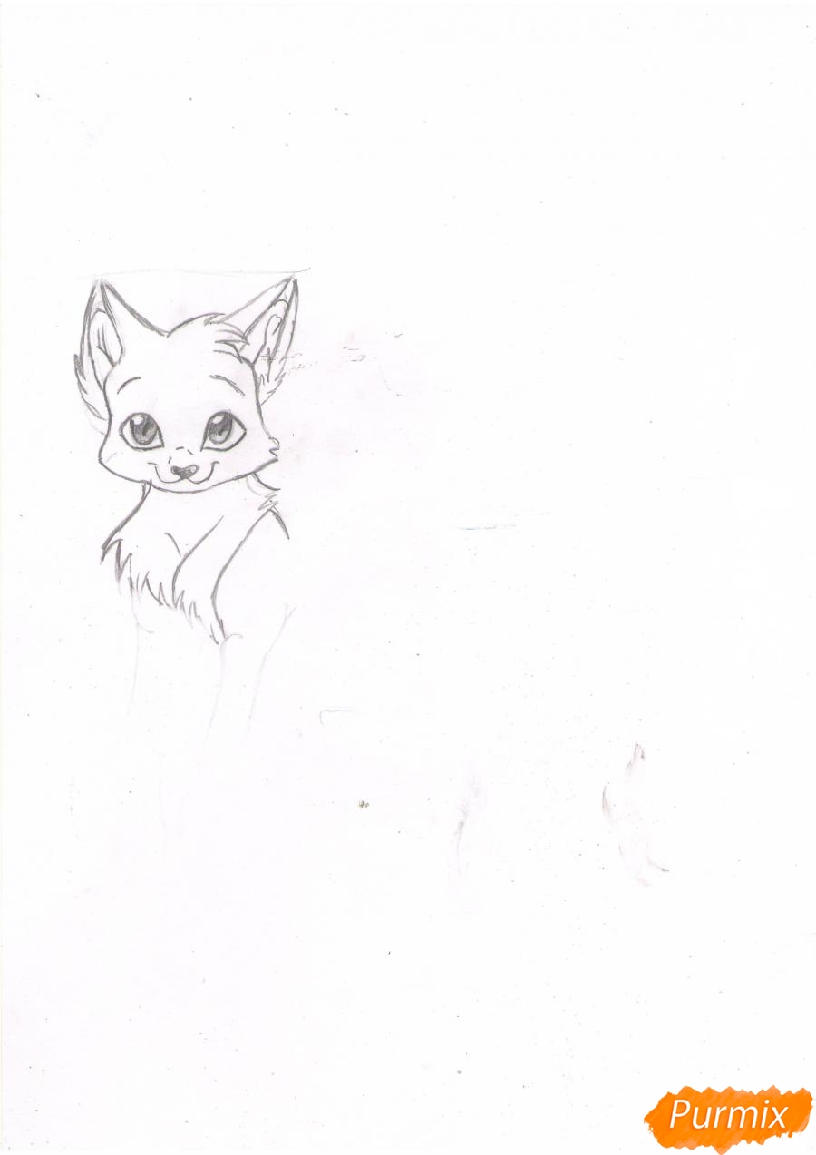 Рисуем аниме кошку цветными карандашами - шаг 2
