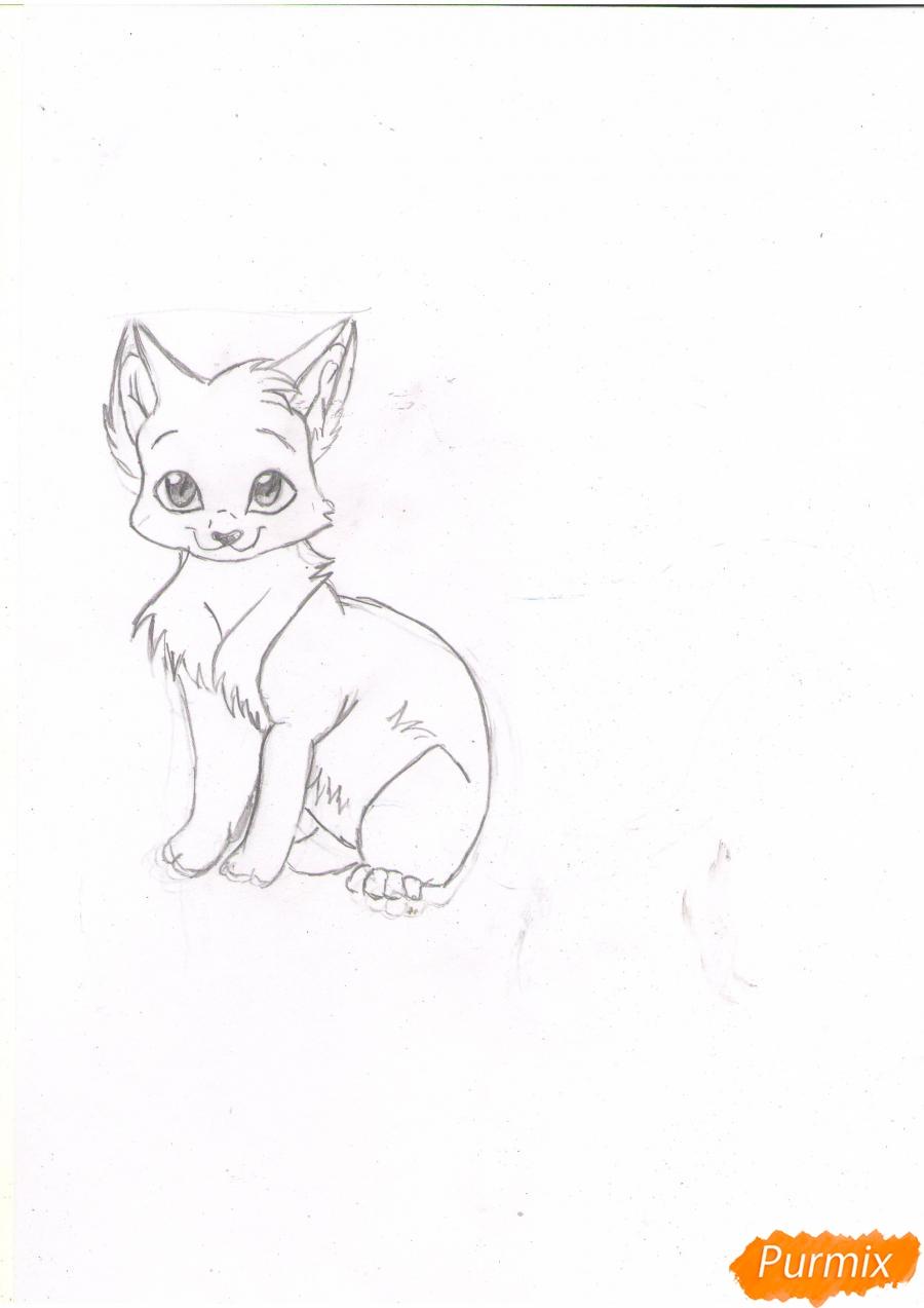 Рисуем аниме кошку цветными карандашами - шаг 3