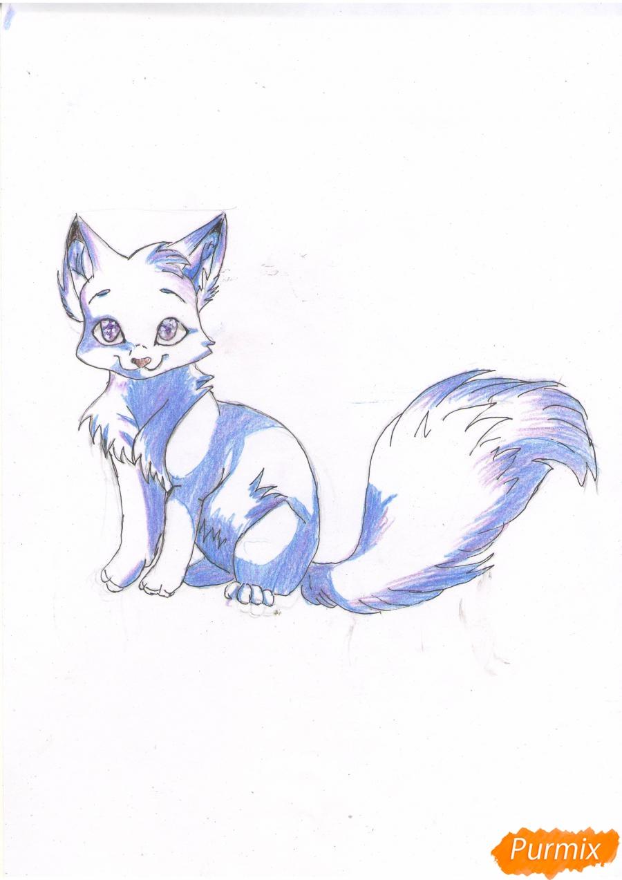 Рисуем аниме кошку цветными карандашами - шаг 5