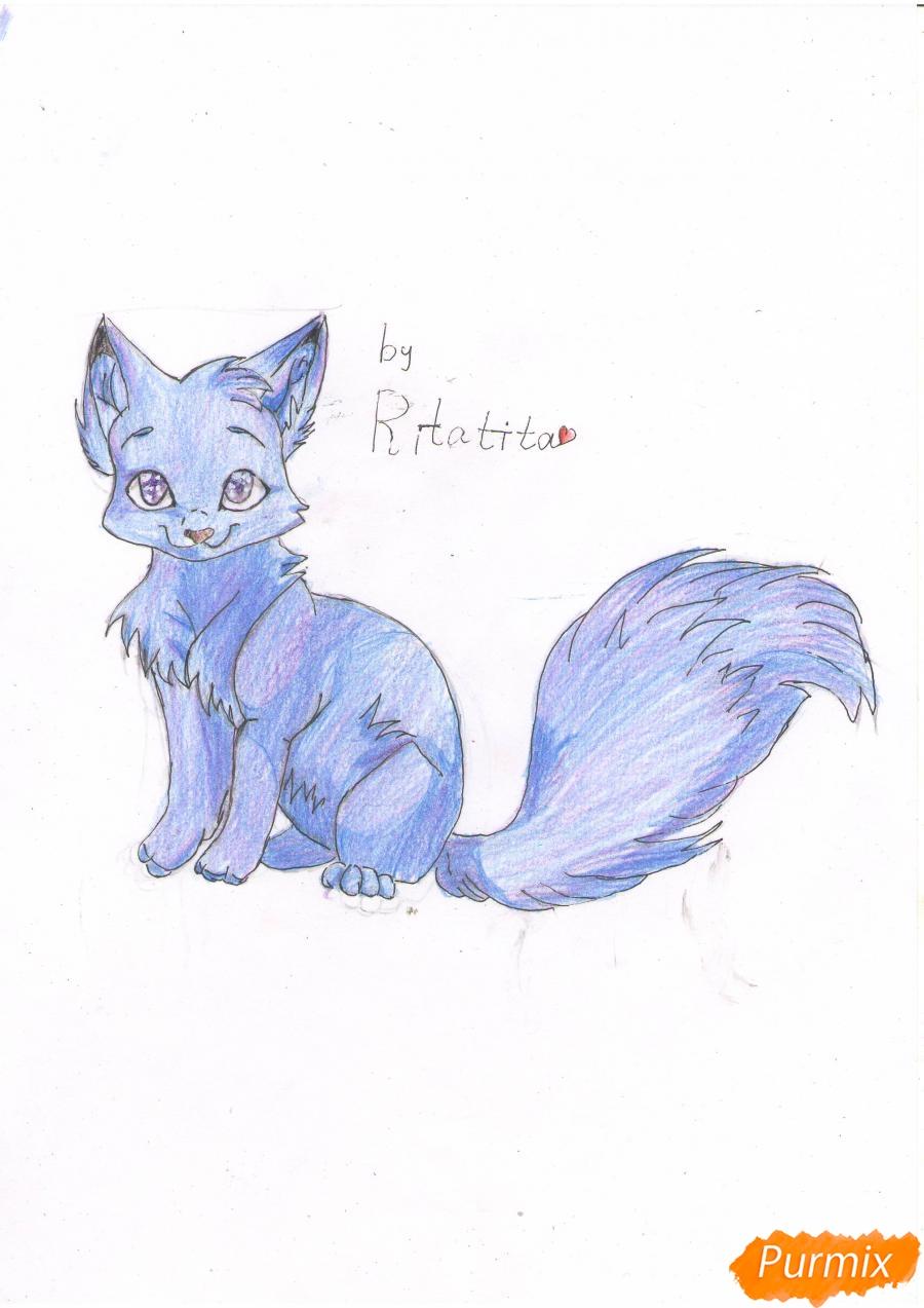 Рисуем аниме кошку цветными карандашами - шаг 6