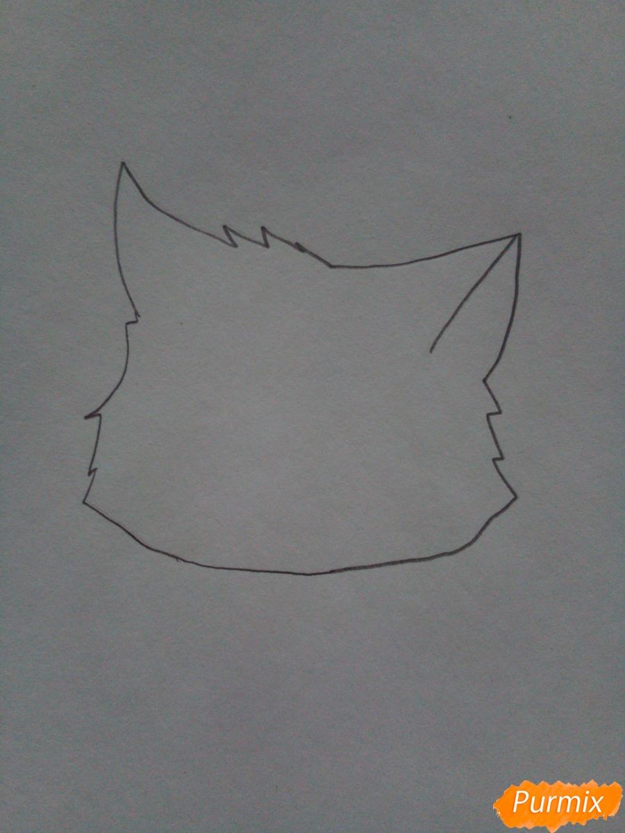Рисуем аниме котенка фиолетового цвета - шаг 1