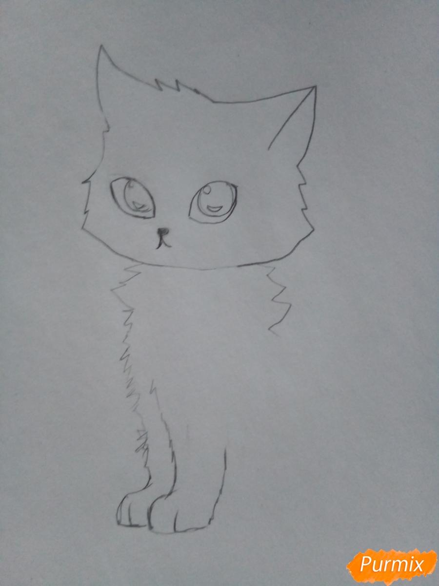 Рисуем аниме котенка фиолетового цвета - шаг 3
