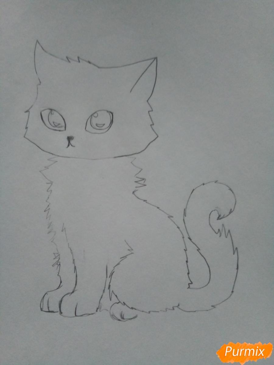 Рисуем аниме котенка фиолетового цвета - шаг 4