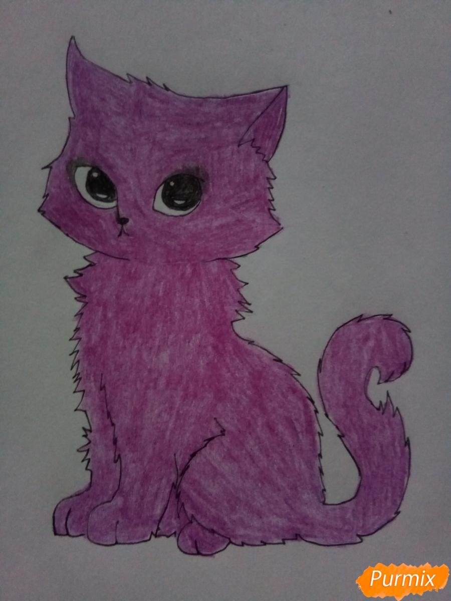 Рисуем аниме котенка фиолетового цвета - шаг 6