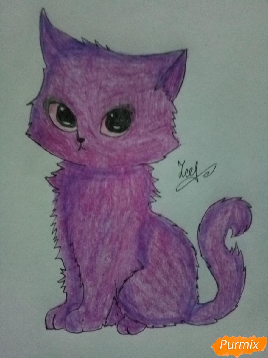 Рисуем аниме котенка фиолетового цвета - шаг 7