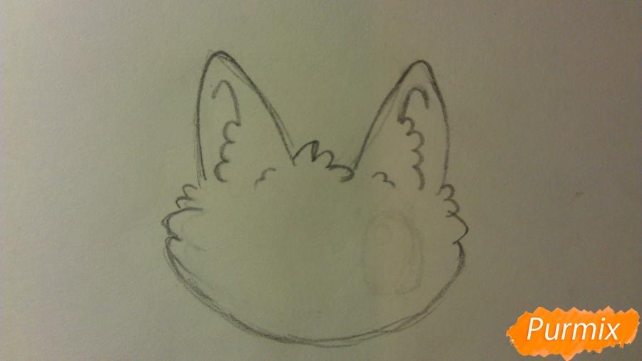 Рисуем аниме котёнка сидя - шаг 1