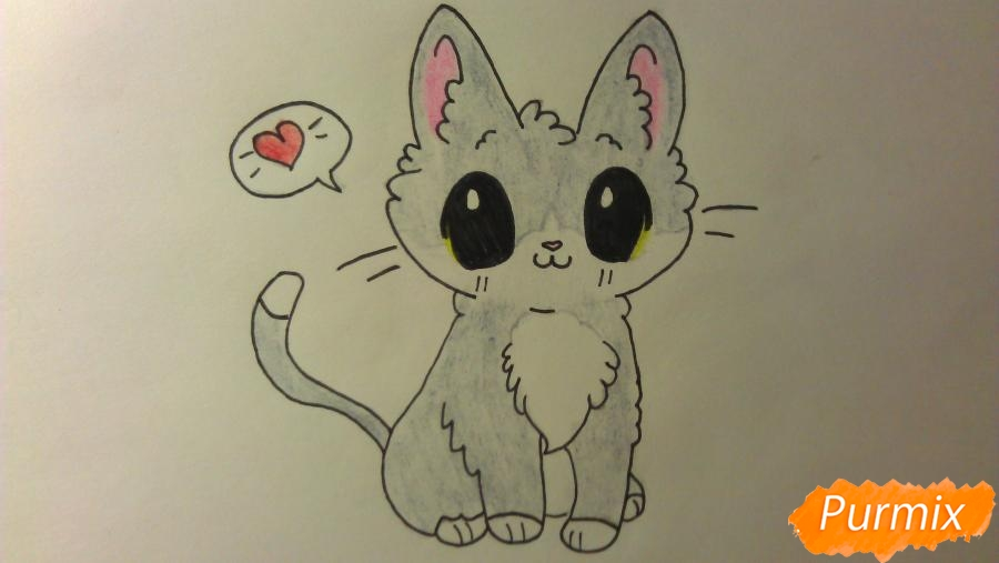 Рисуем аниме котёнка сидя - шаг 10