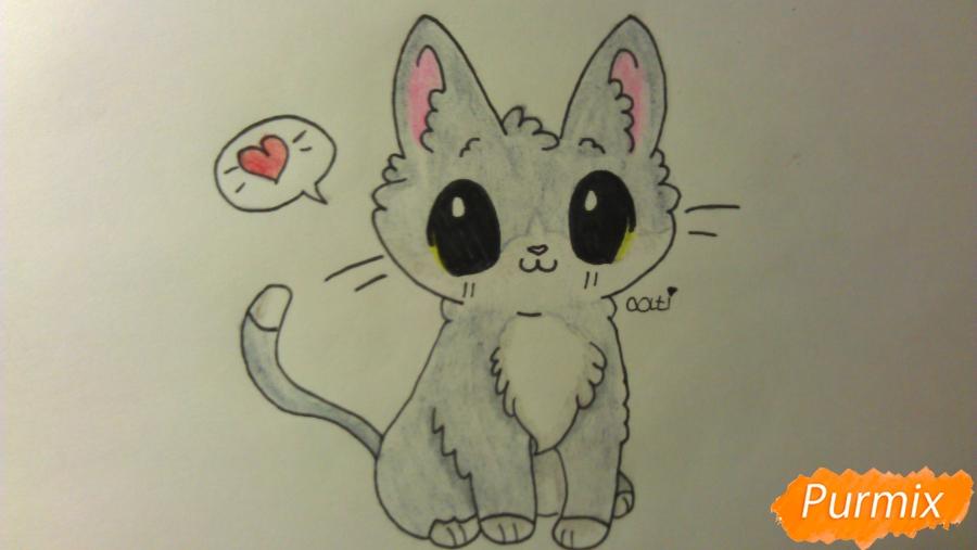 Рисуем аниме котёнка сидя - шаг 11