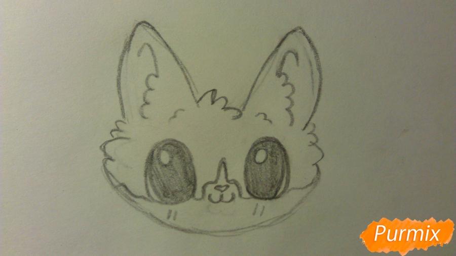 Рисуем аниме котёнка сидя - шаг 2