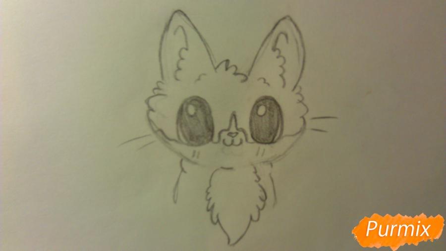 Рисуем аниме котёнка сидя - шаг 3