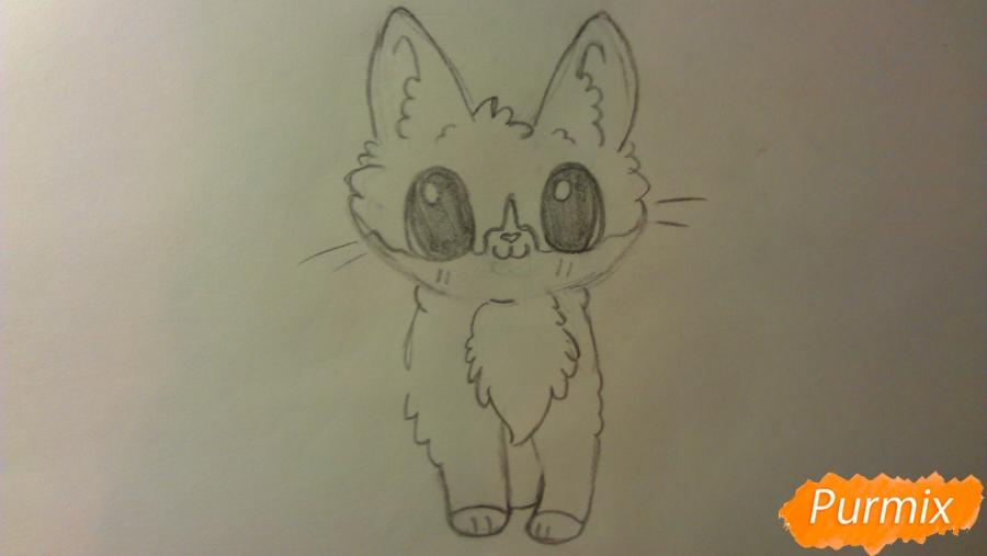 Рисуем аниме котёнка сидя - шаг 4