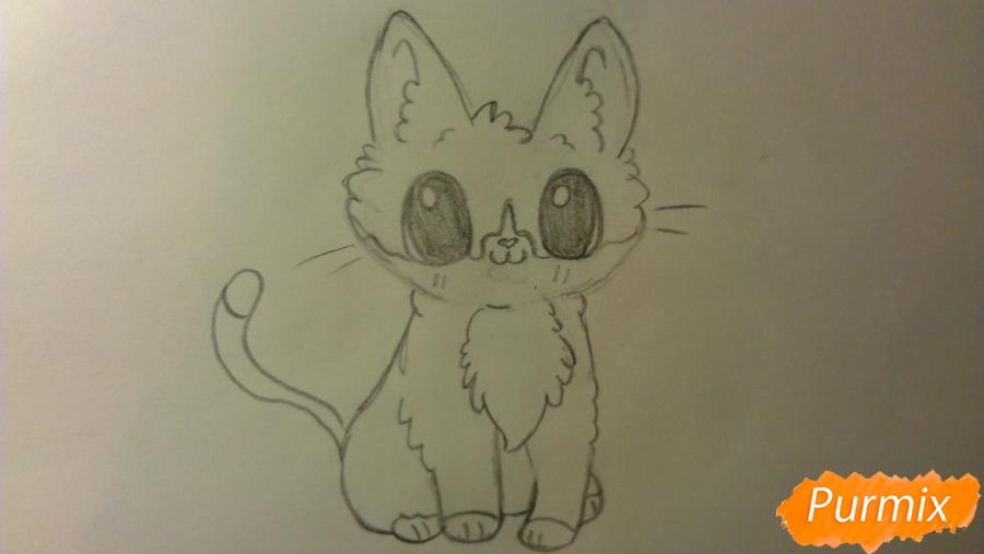Рисуем аниме котёнка сидя - шаг 5
