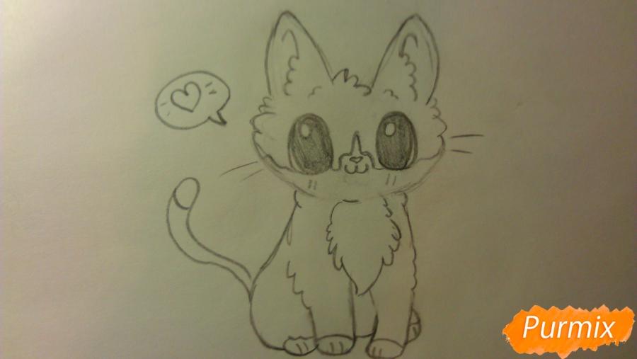 Рисуем аниме котёнка сидя - шаг 6