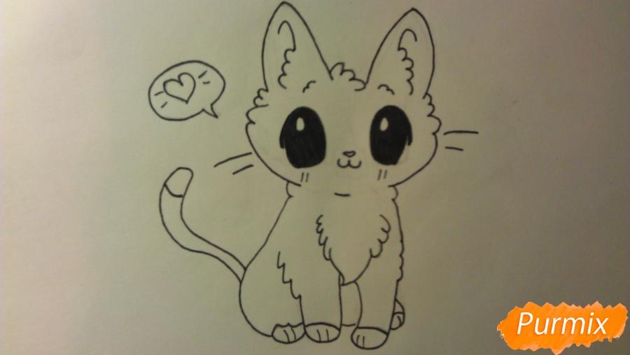 Рисуем аниме котёнка сидя - шаг 7