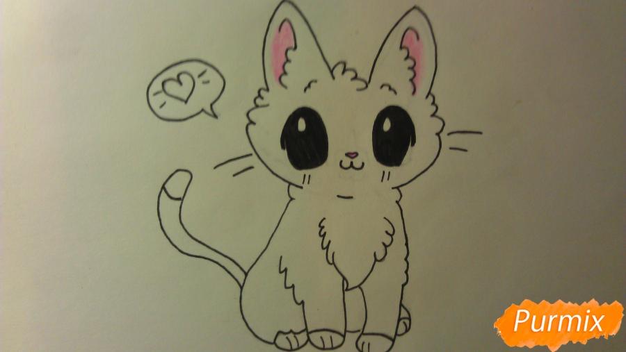 Рисуем аниме котёнка сидя - шаг 8