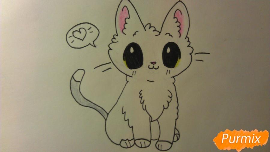Рисуем аниме котёнка сидя - шаг 9