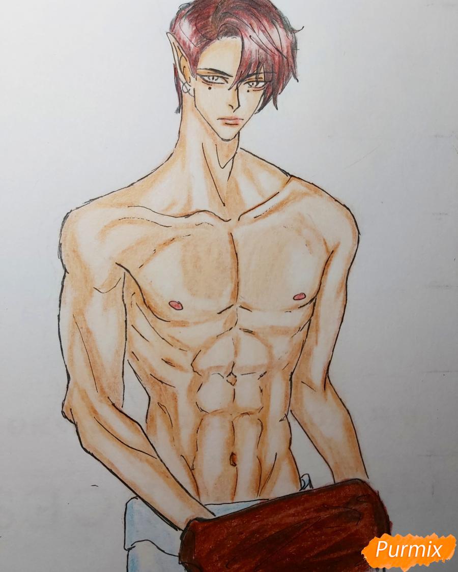 Рисуем аниме парня-эльфа карандашами - шаг 10