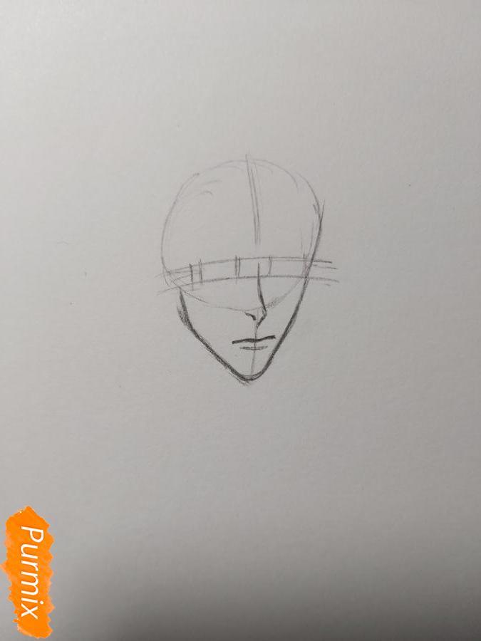 Рисуем аниме парня-эльфа карандашами - шаг 2
