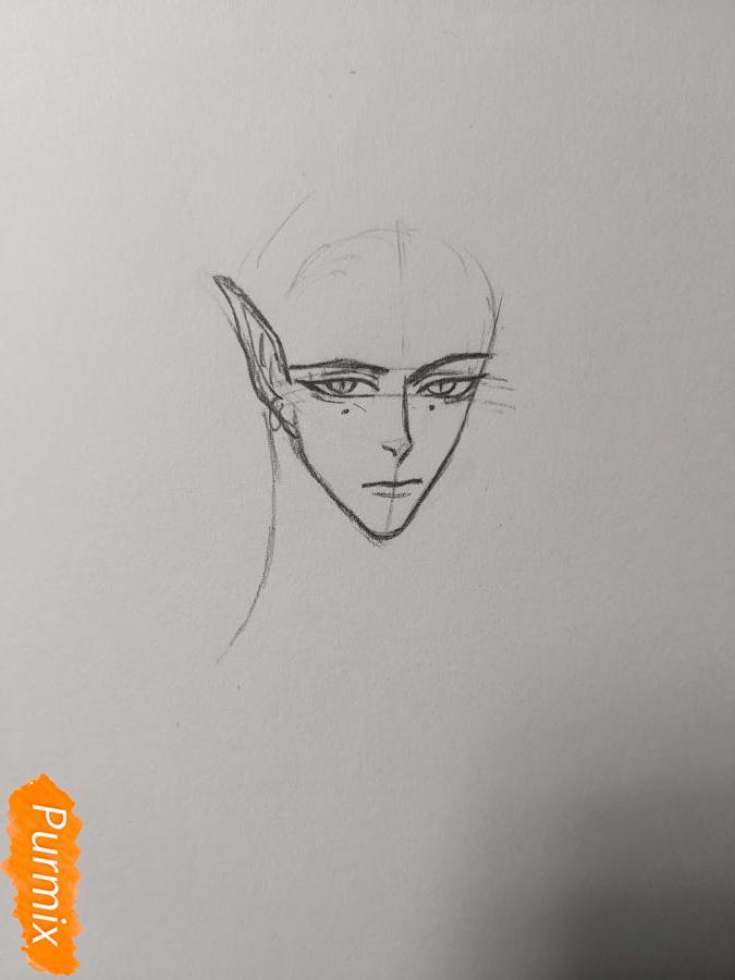 Рисуем аниме парня-эльфа карандашами - шаг 3