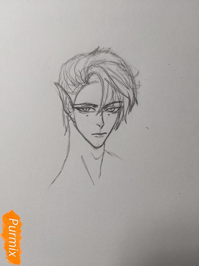 Рисуем аниме парня-эльфа карандашами - шаг 4