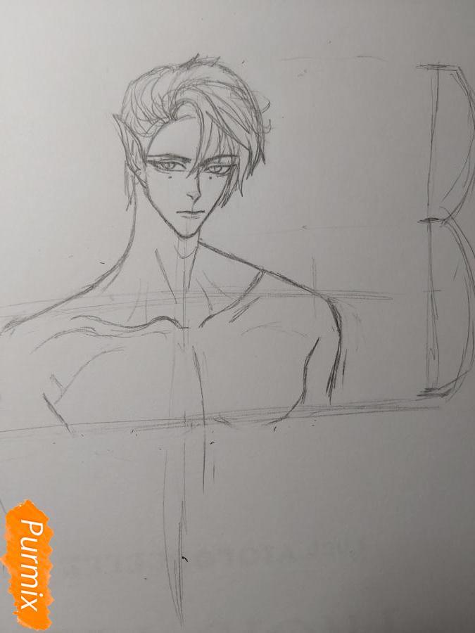 Рисуем аниме парня-эльфа карандашами - шаг 5