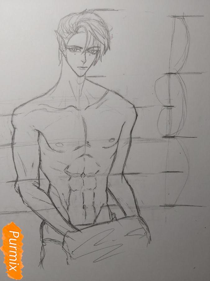 Рисуем аниме парня-эльфа карандашами - шаг 7