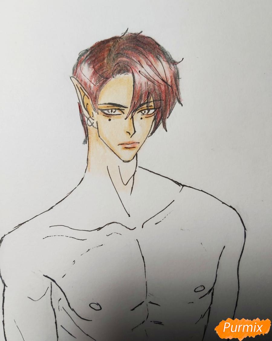 Рисуем аниме парня-эльфа карандашами - шаг 9