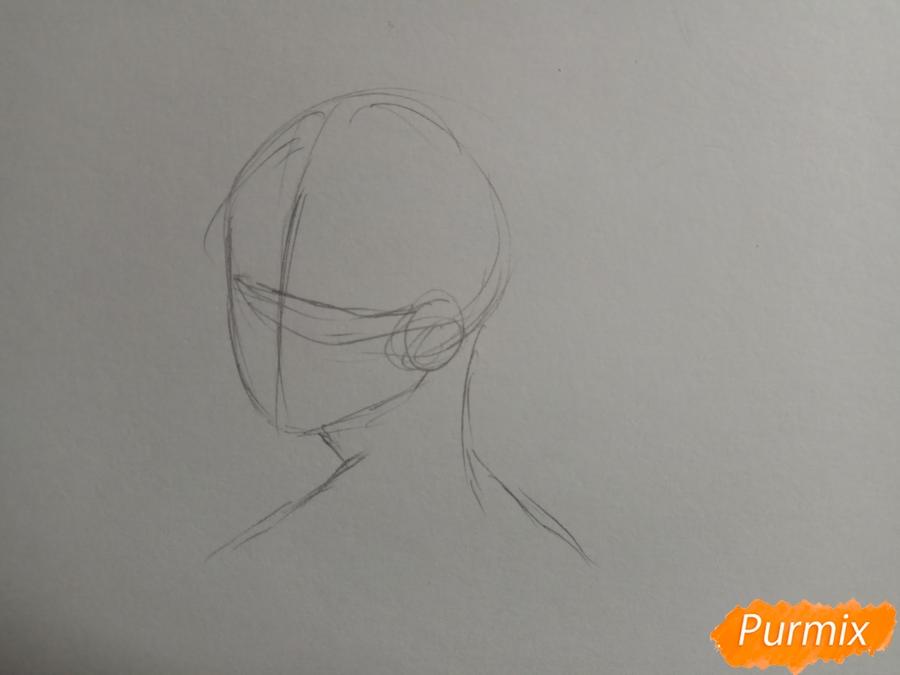 Рисуем аниме парня с ушками карандашами - шаг 1