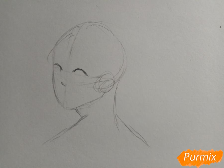 Рисуем аниме парня с ушками карандашами - шаг 2