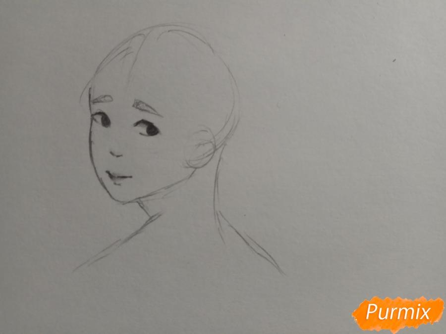 Рисуем аниме парня с ушками карандашами - шаг 4