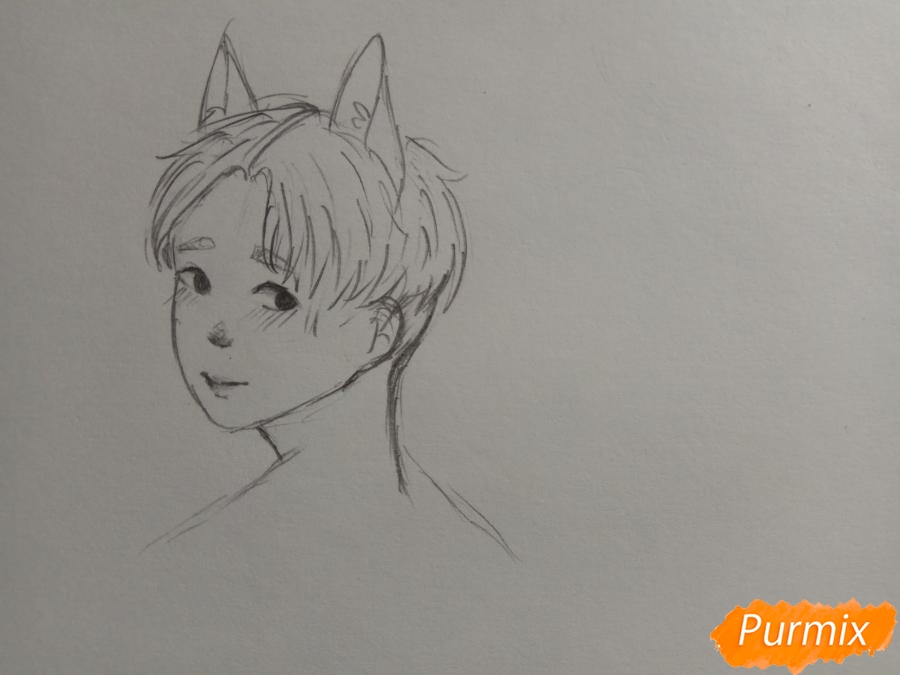 Рисуем аниме парня с ушками карандашами - шаг 5