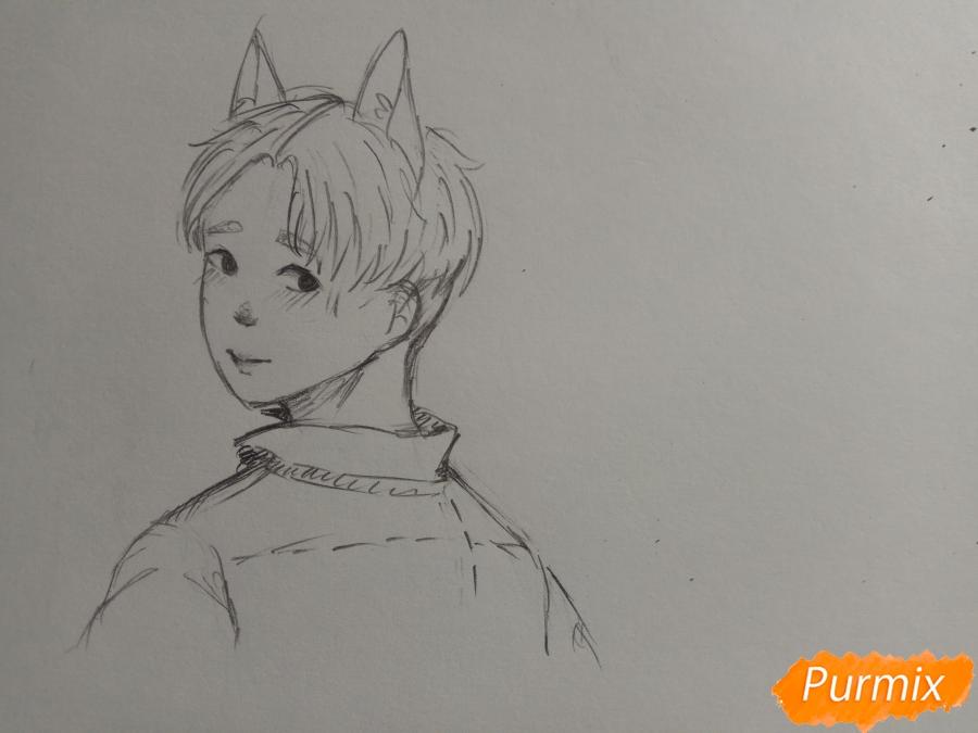 Рисуем аниме парня с ушками карандашами - шаг 6